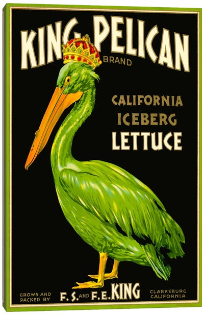 King Pelican Brand Lettuce Canvas Art Print