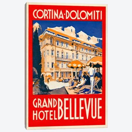 Cortina Dolomiti, Grand Hotel Bellevue Canvas Print #PCA69} by Print Collection Canvas Wall Art