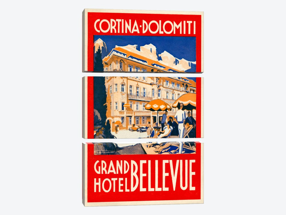 Cortina Dolomiti, Grand Hotel Bellevue by Print Collection 3-piece Canvas Artwork