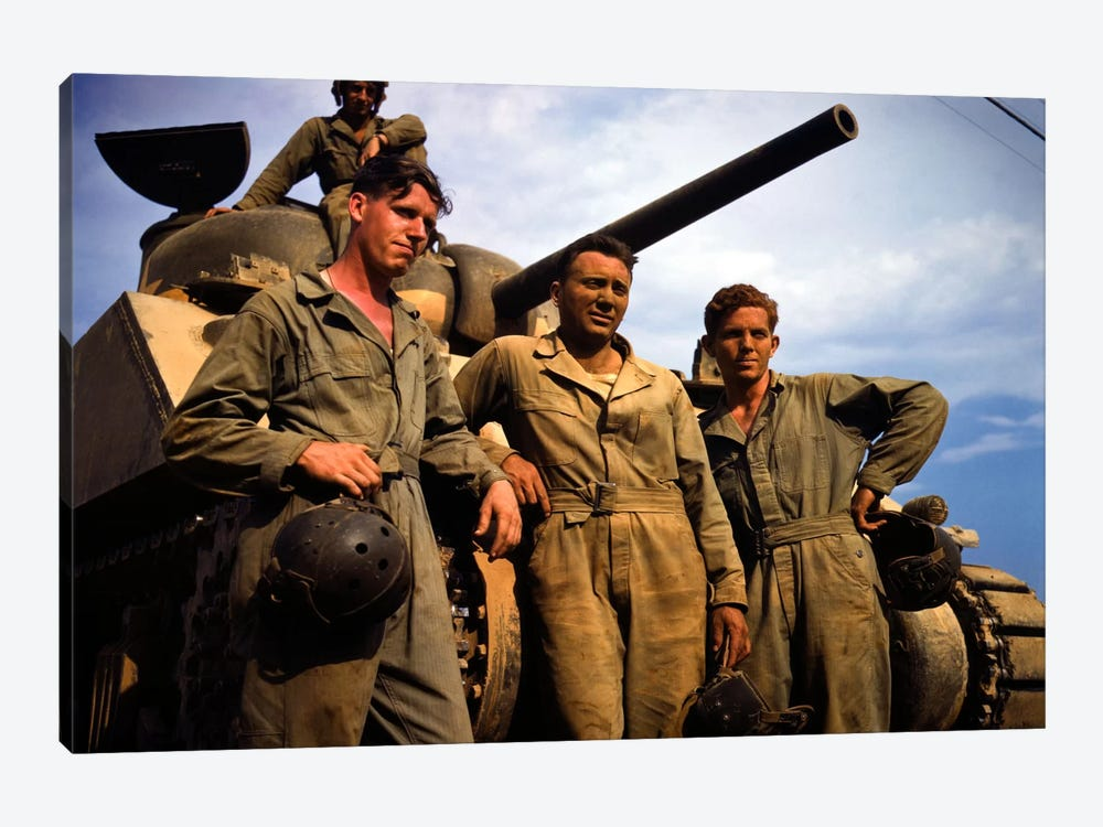 Tank Crew leaning on M 4 tank, Ft. Knox, Ky. by Print Collection 1-piece Canvas Print