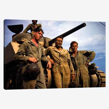 Tank Crew leaning on M 4 tank, Ft. Knox, Ky. Canvas Print #PCA80} by Print Collection Canvas Artwork