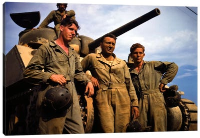 Tank Crew leaning on M 4 tank, Ft. Knox, Ky. Canvas Art Print