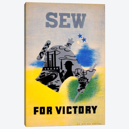 Sew for Victory Canvas Print #PCA81} by Print Collection Canvas Artwork