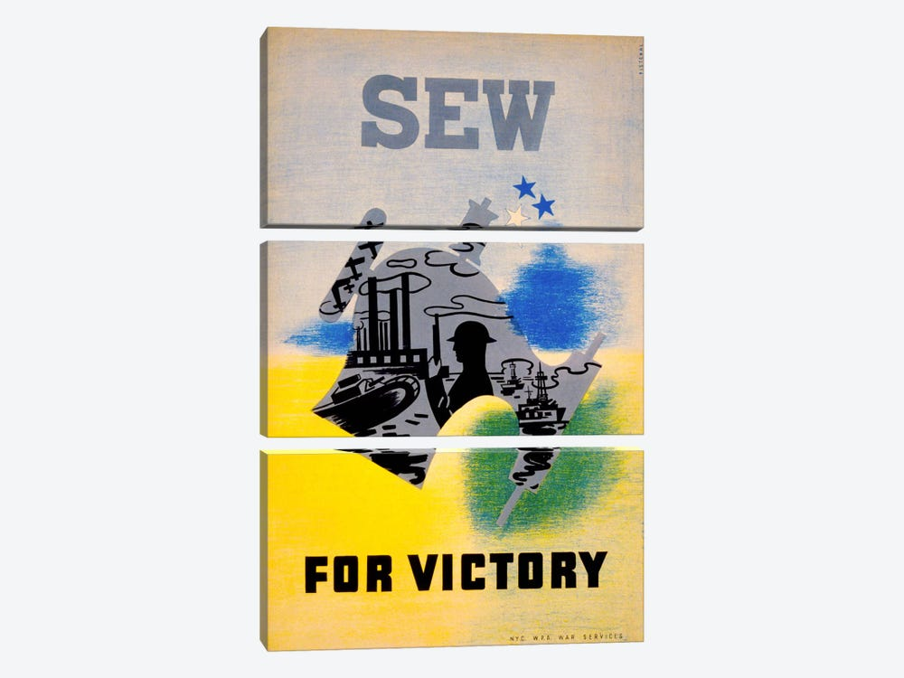 Sew for Victory by Print Collection 3-piece Canvas Artwork