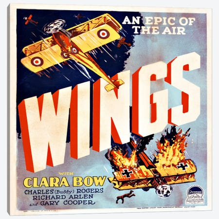 Wings Movie Poster Canvas Print #PCA83} by Print Collection Canvas Wall Art