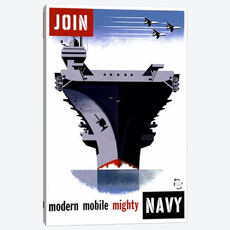 Join the Navy, Modern Mobile Mighty Canvas Print #PCA85} by Print Collection Art Print
