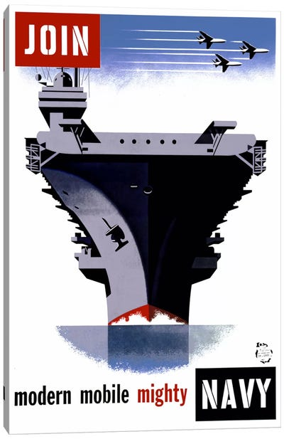 Join the Navy, Modern Mobile Mighty Canvas Art Print