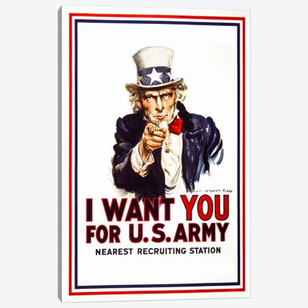I Want You For U.S. Army Canvas Print #PCA93} by Print Collection Canvas Art Print