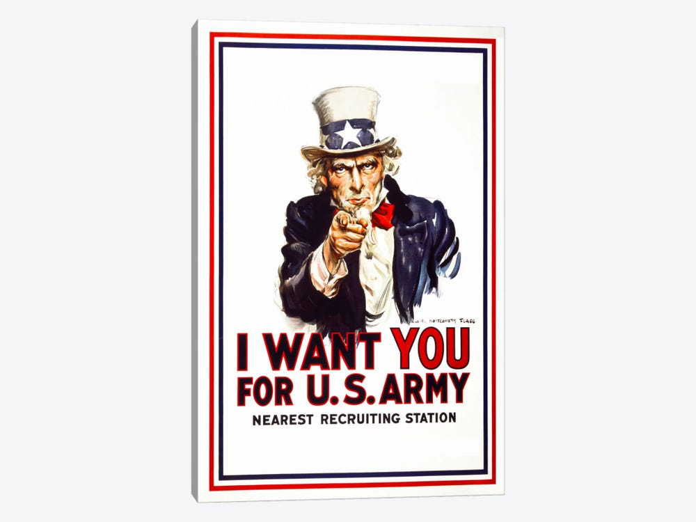 I Want You For U.S. Army by Print Collection 1-piece Canvas Print