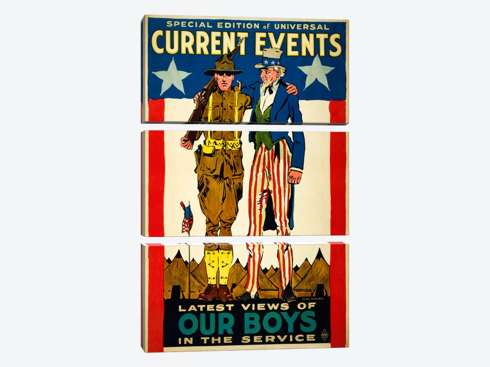 Special Edition of Universal Current Events Latest Views of our Boys in the Service by Print Collection 3-piece Canvas Art Print
