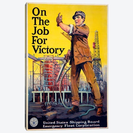 On the Job for Victory Canvas Print #PCA96} by Print Collection Canvas Wall Art
