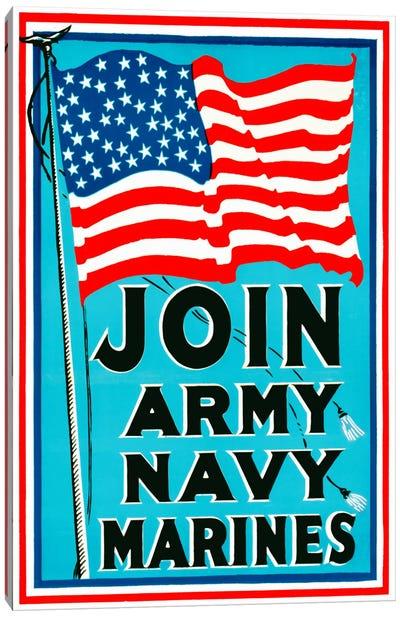 Join Army Navy Marines Canvas Art Print