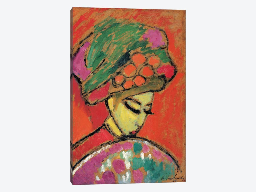 Young Girl with a Flowered Hat, 1910 by Alexej von Jawlensky 1-piece Canvas Print