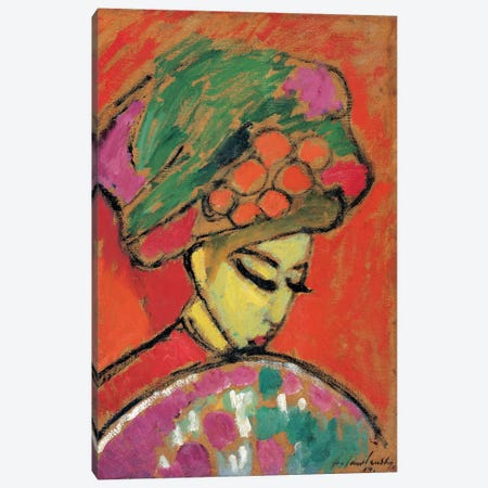 Young Girl with a Flowered Hat, 1910 Canvas Print #PCD2} by Alexej von Jawlensky Art Print