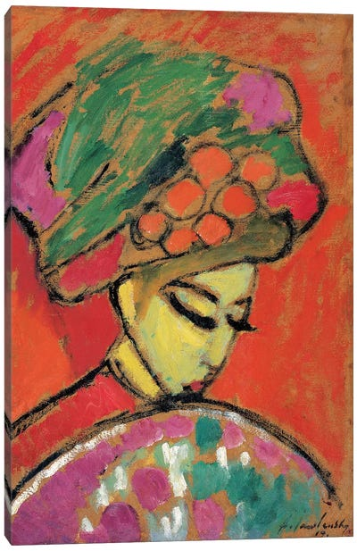 Young Girl with a Flowered Hat, 1910 Canvas Art Print