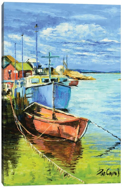 Fishing Boats At Dock Canvas Art Print