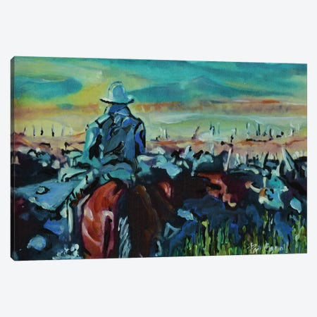 Running The Herd Canvas Print #PCL29} by Patricia Carroll Canvas Art Print