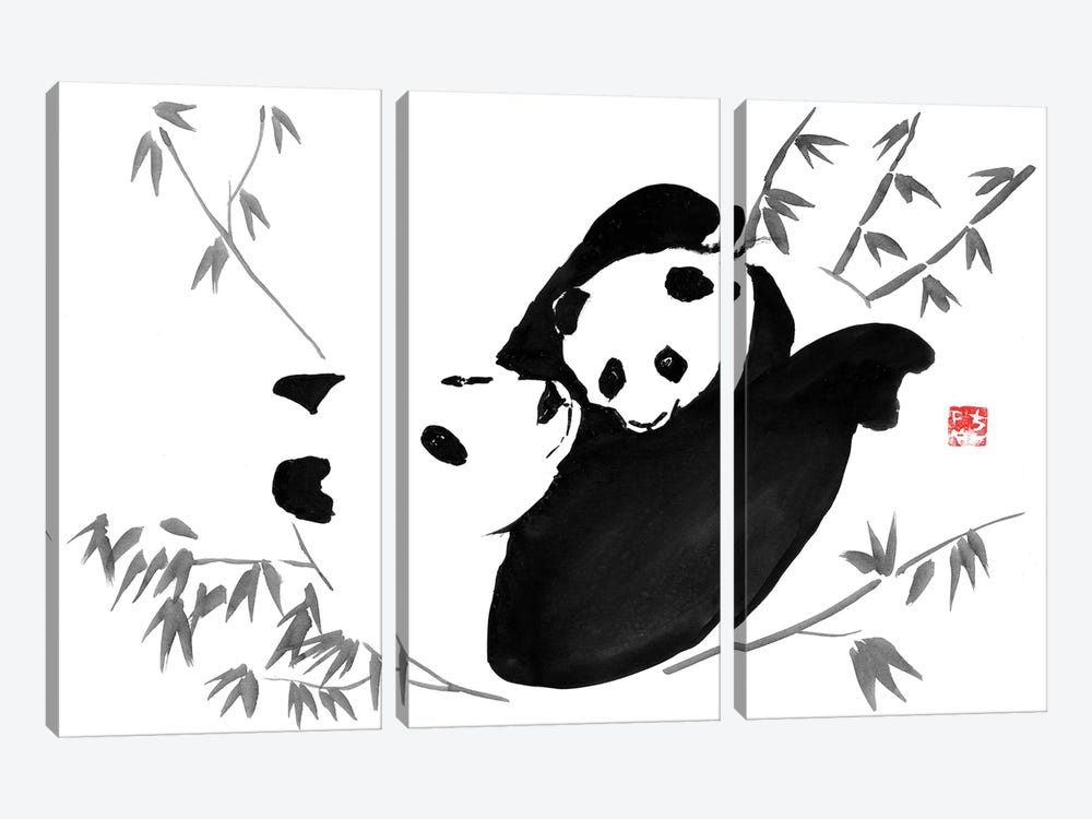 Panda Family by Péchane 3-piece Canvas Artwork