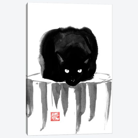 Black Cat On Wood Canvas Print #PCN13} by Péchane Canvas Art