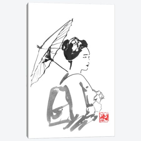 Walking Geisha Canvas Print #PCN192} by Péchane Art Print