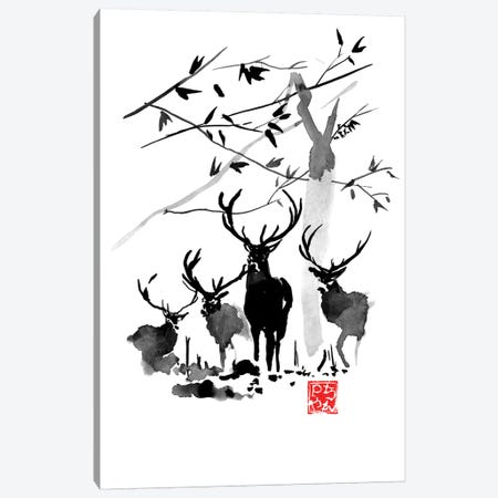 Deer Family Canvas Print #PCN216} by Péchane Art Print