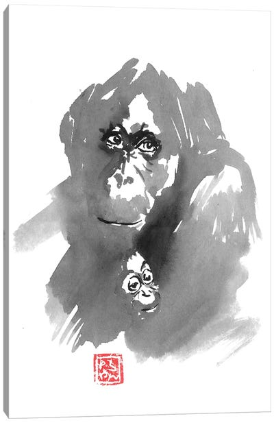 Gorillla Family Canvas Art Print
