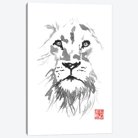 Lion In White Canvas Print #PCN228} by Péchane Art Print