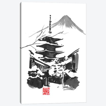 Fuji San And Temple Canvas Print #PCN258} by Péchane Canvas Wall Art