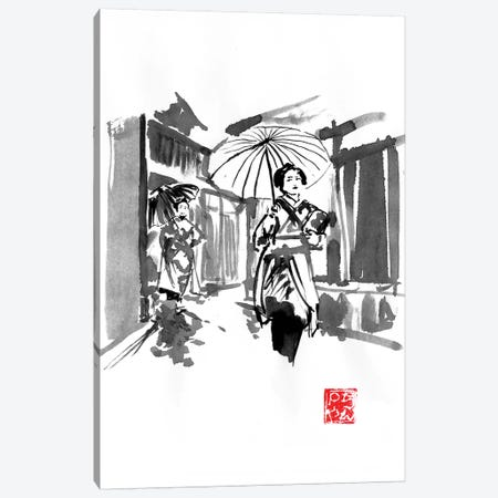 Two Geisha Outdoor Canvas Print #PCN276} by Péchane Canvas Art Print