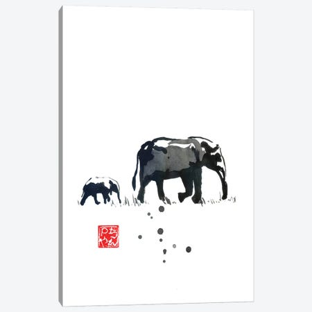 Elephant Family Canvas Print #PCN299} by Péchane Canvas Wall Art