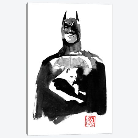 Batman With His Cat Canvas Print #PCN325} by Péchane Art Print
