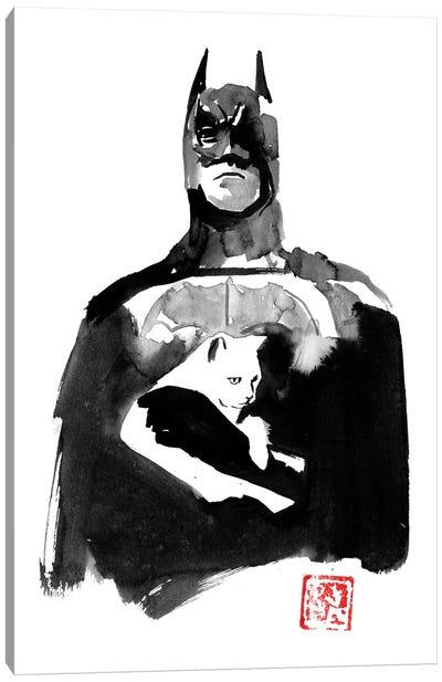 Batman With His Cat Canvas Art Print