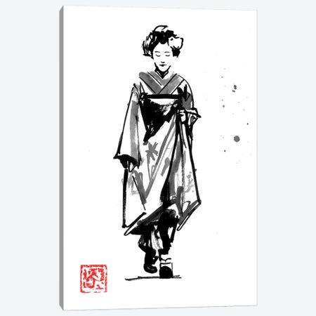 Geisha Walking Canvas Print #PCN327} by Péchane Art Print