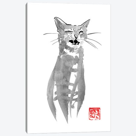 Blinking Cat Canvas Print #PCN349} by Péchane Canvas Wall Art