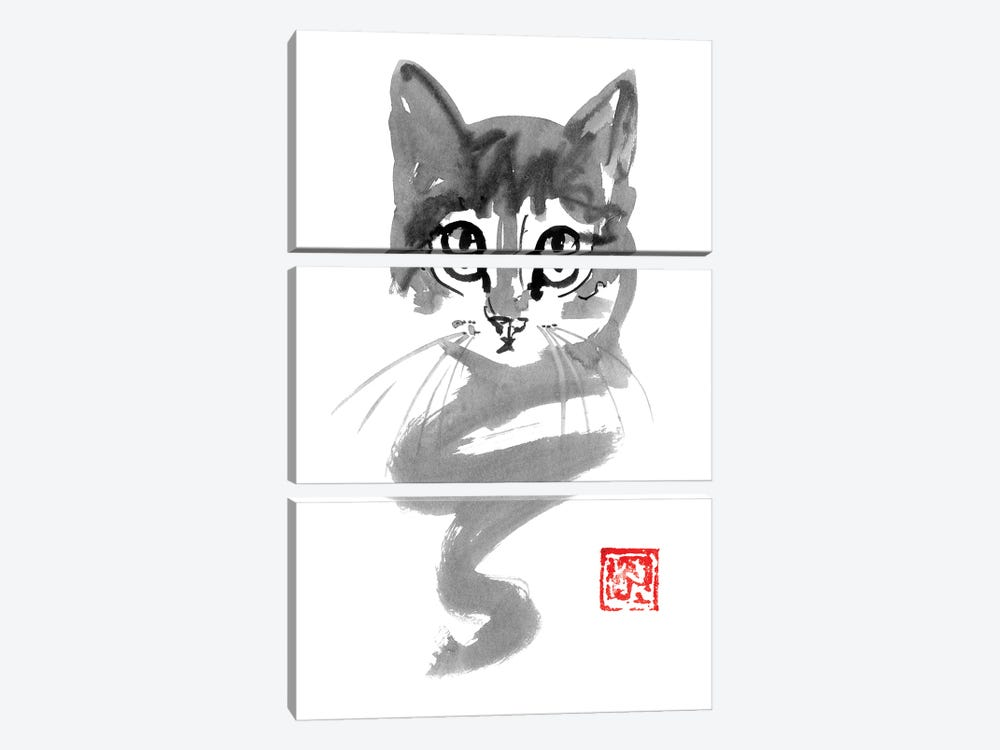 Cute Cat Line 3-piece Canvas Art Print
