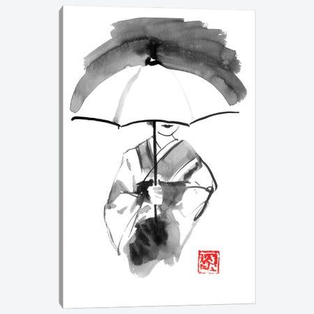 Geisha And White Umbrella Canvas Print #PCN359} by Péchane Art Print