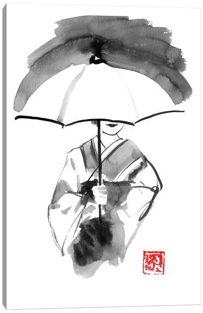 Geisha And White Umbrella Canvas Art Print