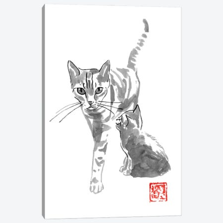 Cat And Mom Canvas Print #PCN383} by Péchane Canvas Wall Art