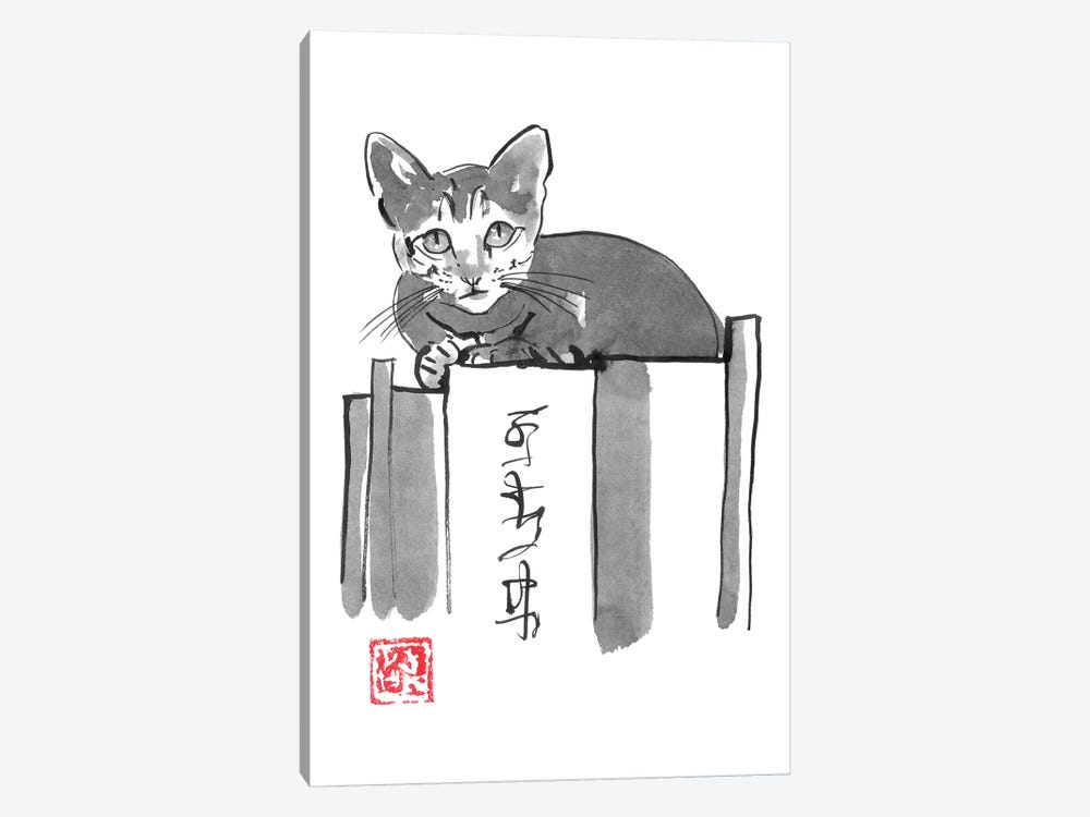 Cat On Books II by Péchane 1-piece Art Print