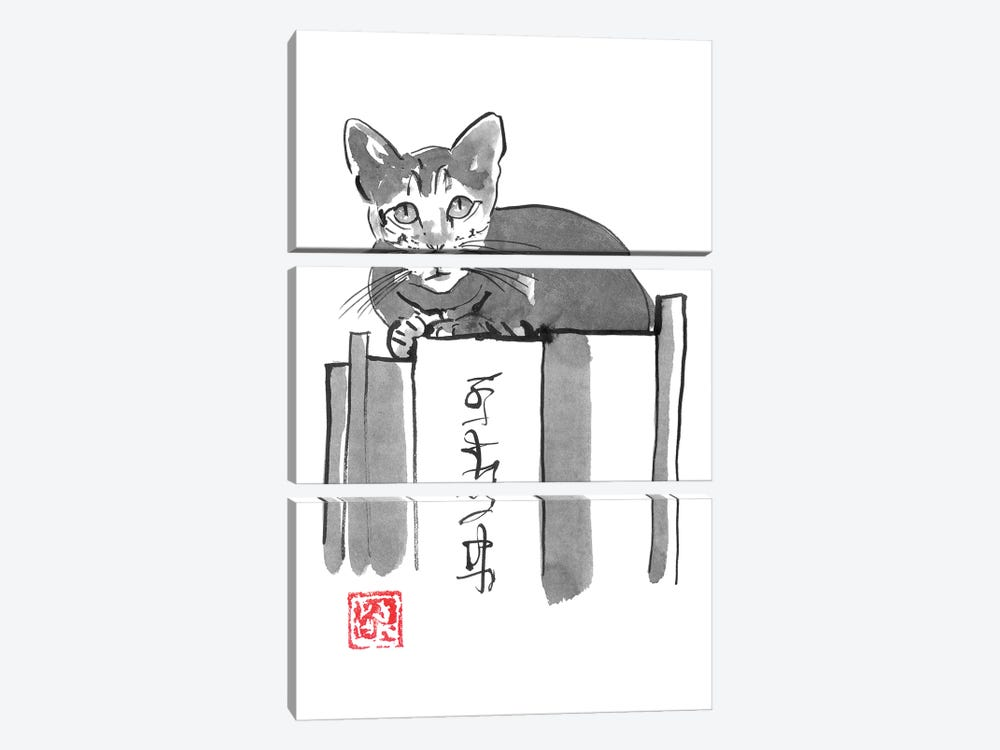 Cat On Books II by Péchane 3-piece Canvas Print