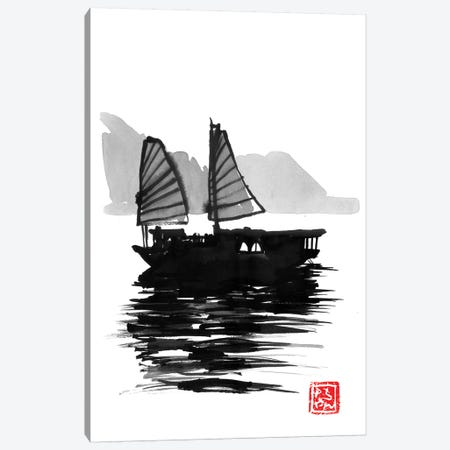 Along Bay Boat 3-Piece Canvas #PCN3} by Péchane Canvas Art Print