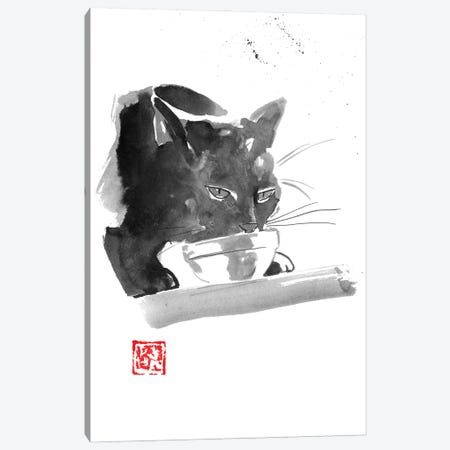 Drinking Cat Canvas Print #PCN400} by Péchane Canvas Art Print