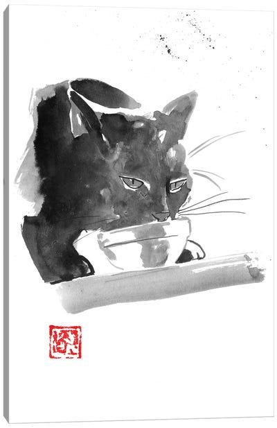 Drinking Cat Canvas Art Print