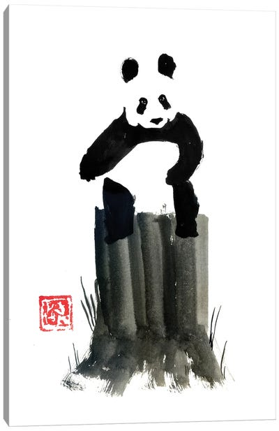 Panda On The Cut Tree Canvas Art Print