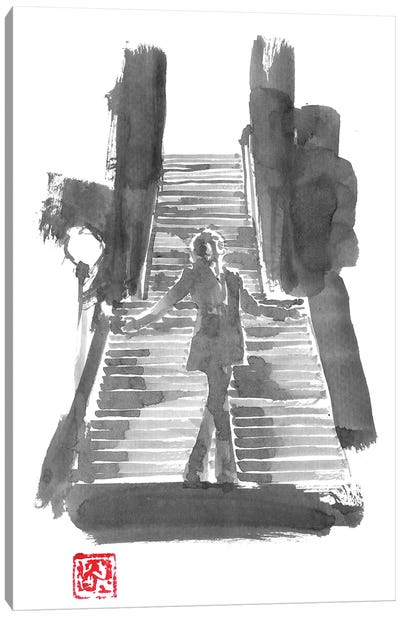 The Joker In The Stairs Canvas Art Print