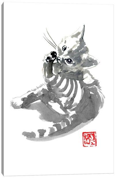 Washing Kitty Canvas Art Print