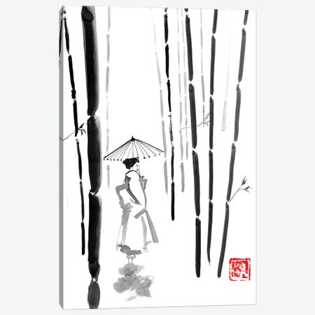 Geisha In Bamboo Forest Canvas Print #PCN485} by Péchane Canvas Wall Art