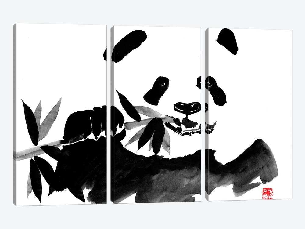 Eating Panda 3-piece Canvas Art