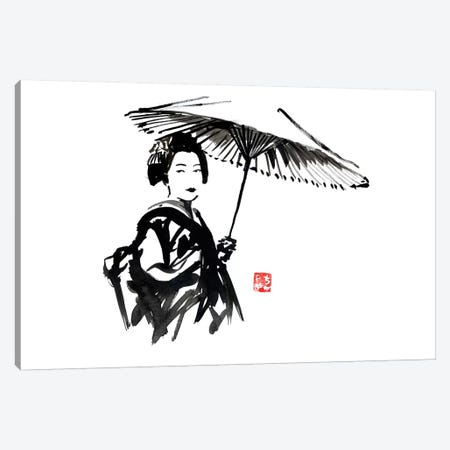 Geisha With Umbrella 3-Piece Canvas #PCN70} by Péchane Canvas Wall Art