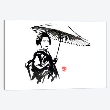 Geisha With Umbrella Canvas Print #PCN70} by Péchane Canvas Wall Art